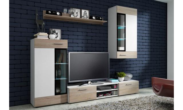 Moderná obývacia stena Tiego, biela / sonoma