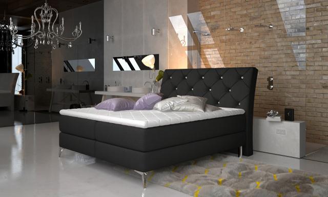 Štýlová box spring posteľ Misha 180x200, čierna
