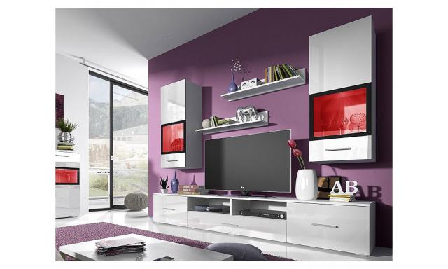 Moderná obývacia stena Sára, biely lesk
