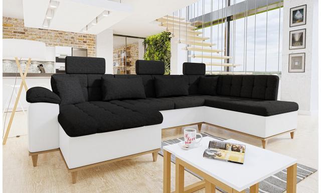 Luxusná sedacia súprava Falun, biela / čierna