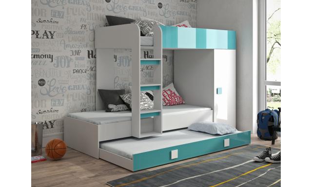 Detská posteľ pre 3 deti Thiago, biela / tyrkysový lesk