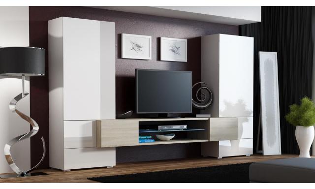 Moderná obývacia stena Diego, biela s TV stolíkom v Sonome
