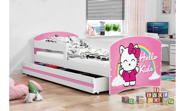 Detská posteľ Lucca, biela + vzor Hello kids, 160x80cm