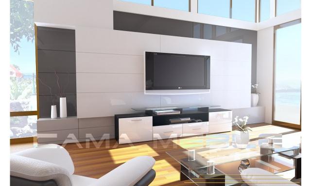 TV stolík Evora, černá/bílý lesk
