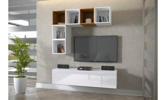 Moderný bytový nábytok Premio K, biela / biely lesk