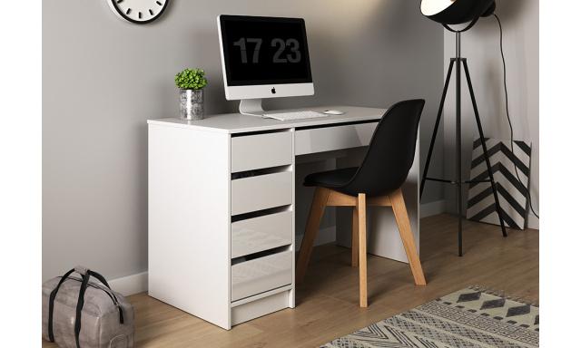 PC stôl Adela, biely lesk