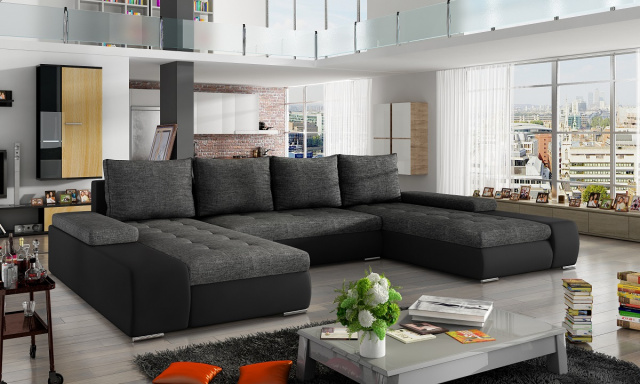 Moderná rohová sedačka Maroko, čierna / sivá