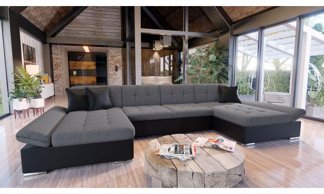 Luxusná sedacia súprava Agapi, čierna / sivá