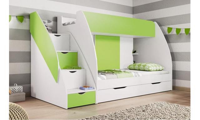 Poschodová detská posteľ Martina, biela / zelená