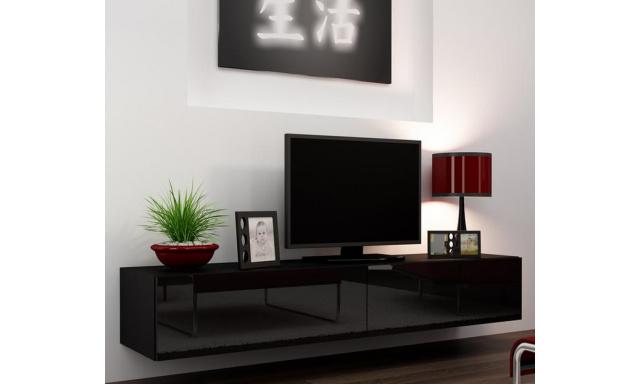 Moderný TV stolík Igore 180, černá/černý lesk