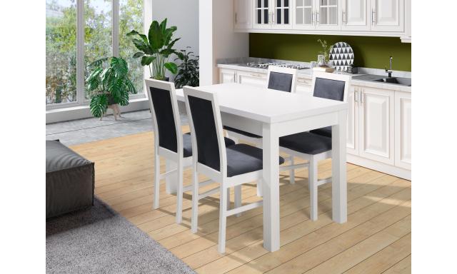 Biely jedálenský set Maxion 5 (stôl + 4x stoličky)